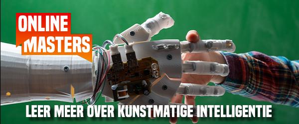 Online Masters logo met robot hand en mensen hand